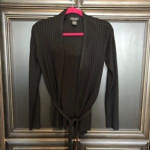 Black knit cardigan with belt